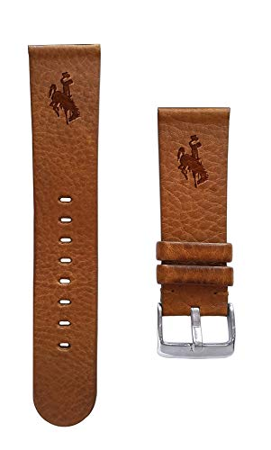 Affinity Bands University of Wyoming Cowboys 22mm Premium Leather Watch Band - Compatible with Samsung, Garmin, Fossil Fitbit and More.