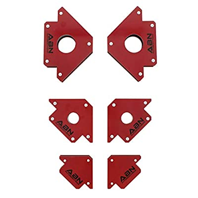 ABN Arrow Welding Magnet Set - 6 Pack of 25, 50, and 75 Lb Magnets for Metal Working, 45, 90, 135 Degree Angle Magnet