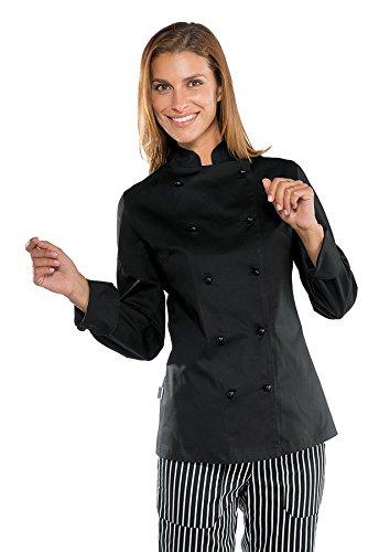 Antipanico Gr Lunga Manica 190 Isacco 100 Tessuto m² Chef Cotone Bianco Lady Giacca Bottoni S 26944 Nero xqvwngOx
