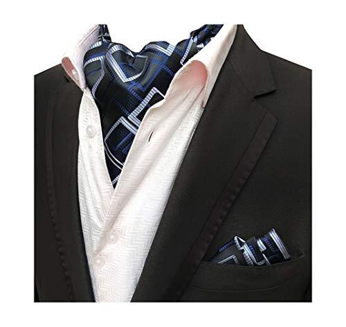 Cravat Necktie Woven Silk Formal Ascot Tie Pocket Square Set ()