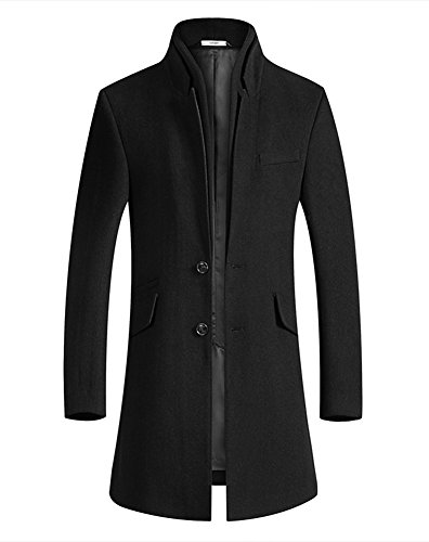 Insun Men's Stand Collar 2 Buttons Wool Winter Long Trench Coat Jacket Black