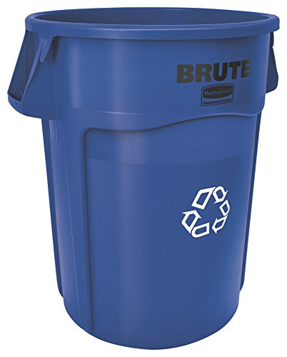 44 Gallon Trash Container - Rubbermaid Commercial FG264307BLUE Brute Plastic 44-Gallon Vented Recycling Container, Round Blue