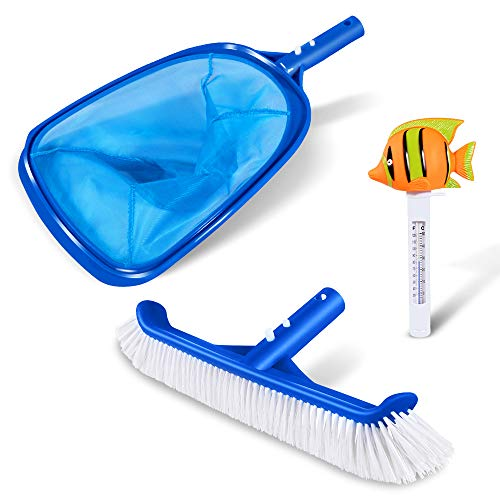 """3 PCS Pool Cleaning Set with 12"""" Aluminium Swimming Pool Cleaning Brush,Pool Leaf Rake and Pool Floating Animal Thermometer with F/C Display(Goldfish)- for In-ground Pool and Above-Ground Pool."""