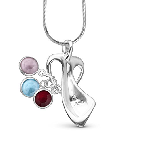 Loving Family Mother's Loving Embrace Genuine. 925 Sterling Silver Pendant Necklace with Swarovski Crystal Charms