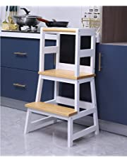 Harrianna Wooden Kids Kitchen Step Stool with Handle and Safety Rail, Toddler Step Stool Two Step Perfect for Kitchen or Bathroom,Mothers' Helper Kids Learning Stool,Solid Wood Construction Wood color and white