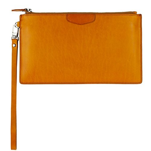 UER Unisex Handcrafted Oil-tanned Leather Wristlet Clutch Medium Organizer Pouch