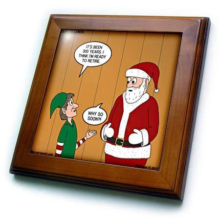 3dRose Rich Diesslins Funny Out to Lunch Cartoons - Elf Retirement Discussion with Santa - 8x8 Framed Tile (ft_305996_1) - Santa Framed Tile