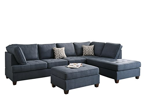 Poundex Bobkona Kemen Linen-Like Polyfabric Left or Right Chaise 3Piece SECTIONAL with Ottoman Set in Blue