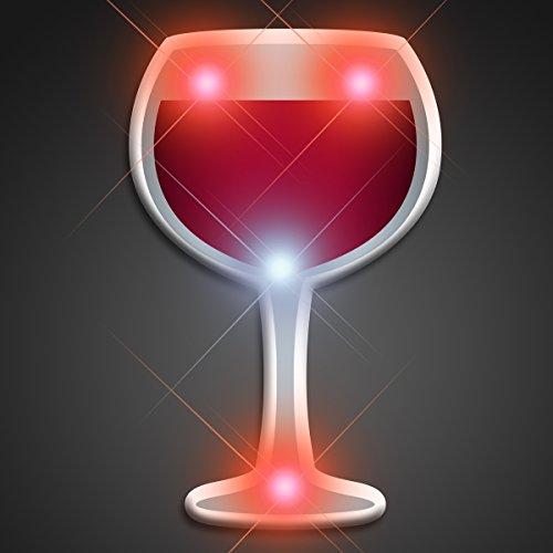 (Light Up Wine Glass Flashing Blinking LED Body Light Lapel Pins)