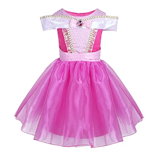 CHICTRY Girls' Princess Cosplay Party Sleeping Beauty Aurora Dress up Fairy Tales Costume With Drop Shoulder Hot Pink 4-5