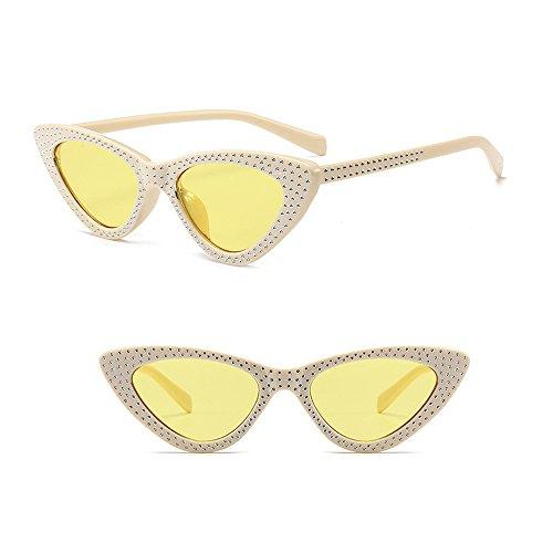 Lunettes Rétro Chat Lunettes Femmes Beige Œil Triangle Classique Cadre Mode Lentille Jaune de de XFentech UV400 soleil vEw8xzwA