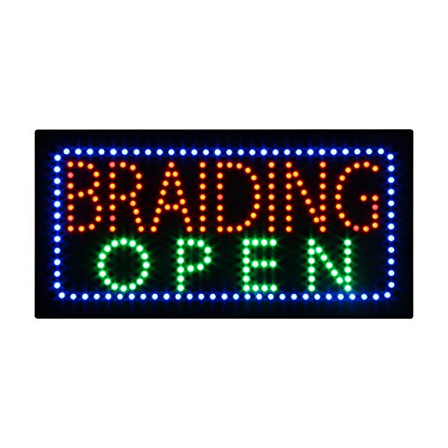 LED Hair Braiding Open Light Sign Super Bright Electric Advertising Display Board for Hair Beauty Salon Hairdresser Supply Business Shop Store Window Bedroom 24 x 12 inches (HSB0421)