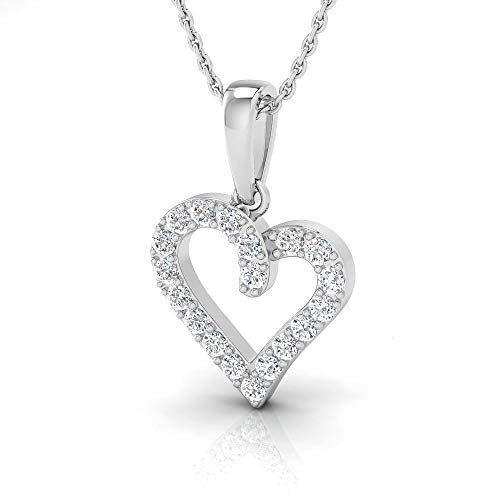 IGI Certified 3/8 Carat Natural Diamond Sterling Silver Heart Pendant for Women with Chain (J-K Color, I2-I3 Clarity)