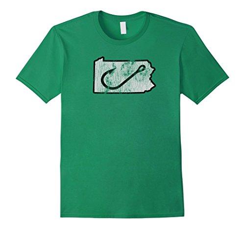 Mens Pennsylvania Angler Fishing Hook T-Shirt Small Kelly Green