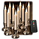 Set of 10 Flameless White Taper Window Candles with Removable Silver Candleholders with Timer and Remote, Batteries Included