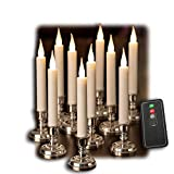 Set of 10 Flameless Taper Window Candles with Removable Silver Candleholders with Timer and Remote, Batteries Included
