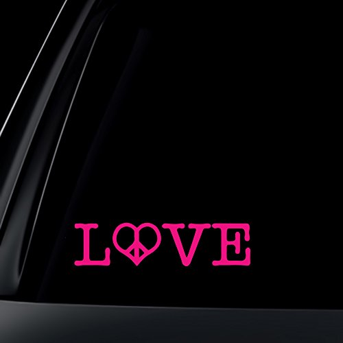 (PINK Love with Heart Peace Sign Car Decal / Sticker)