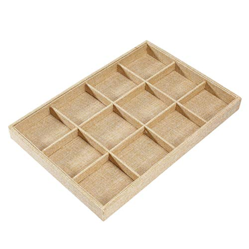 LoveOlvidoS 12 Grids Linen Cloth Jewelry Display Tray Holder Shop Storage Box for Earrings Necklace Watch Presentation Organizer from LoveOlvidoS