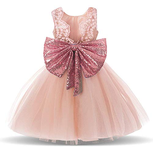 - Pink Backless Sequin Elegant Tutu Fluffy Pageant Wedding Dresses for Toddler Baby Kids Elegant Bridesmaid Clothes Romantic Vintage Birthday Bow Skirt Size 18-24 Months Age 2 Pink 90