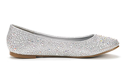 Rhinestone Shoes Sole Pairs Women's Dream Flats Ballet Silver shine wp01nqI