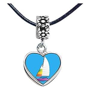 Chicforest Silver Plated Olympics two sailing sailboat cartoon Photo Flower Head Dangle Heart Charm Beads Fits Pandora Bracelet