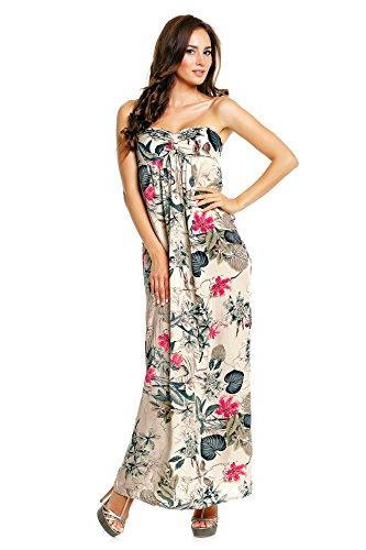 Leaves and Floral Femme Manche Robe Suri Sans Beige Mia nA6qwp4OHx