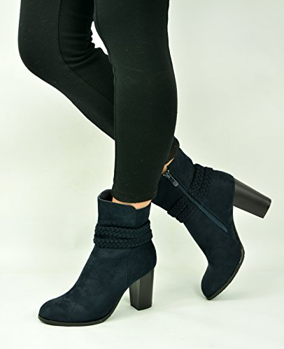 Cucu Fashion - Zapatos de tacón  mujer azul marino