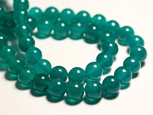 10pc - beads - Jade balls 8mm blue green Peacock SHRI NATH GEMS & JEWELLERY