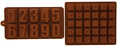 Silicone Chocolate Hard Candy Mold Set Numbers Alphabet Heat