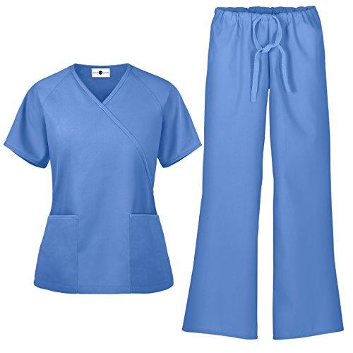 - Women's Scrub Set/Medical Mock Wrap Top & Drawstring Scrub Pant (XS-3X, 7 Colors) (X-Small, Ceil)