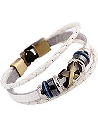 Cuff Bracelet Leather Adjustable Wristband (White)