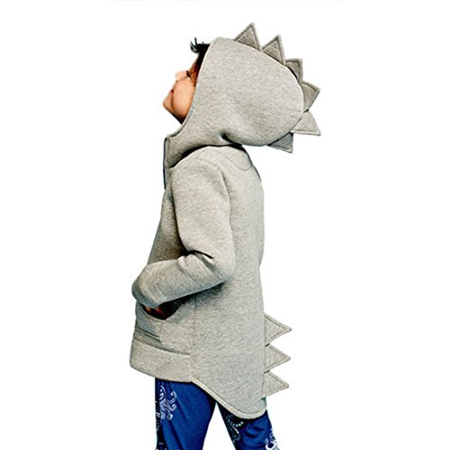 Sunbona Toddler Baby boys Cute Autumn Outerwear Jacket Dinosaur Hooded Warm Coat Clothes (4T(2~3years), Gray) ()