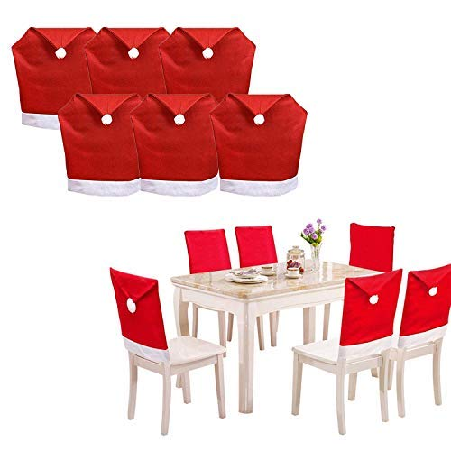 SunTrade 6 Pack Santa Hat Dining Chair Covers,for Christmas Xmas Dinner Table Chairs Decoration