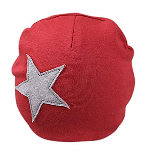 Price comparison product image Newborn Cotton Sleep Beanie Hat Star Print Hat for Unisex Baby (Wine Red)