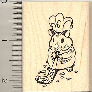 Party Animal (Hamster) Rubber Stamp by RubberHedgehog