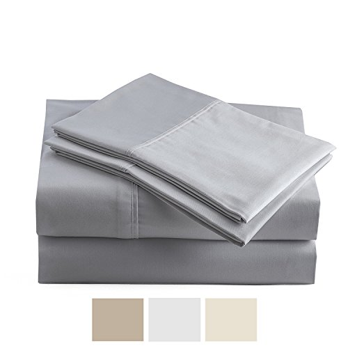 Peru Pima - Temperature Regulating Sheets - 600 Thread Count - 100% Peruvian Pima Cotton - Sateen - Bed Sheet Set - King, Slate