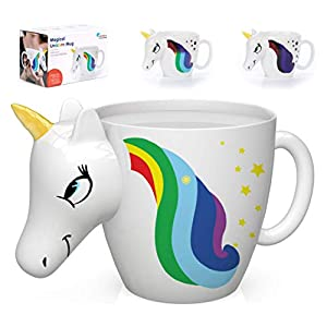 Color Changing Unicorn Mug – 3D Coffee Mugs Rainbow Design, Your morning cup of coffee or tea will never be the same…