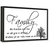 """FRAMED CANVAS PRINT Family like branches on a tree, we all grow in different directions yet our roots remain as one (22""""x12"""") printed wall art plaque home decor sayings quotes"""