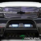 Topline Autopart Matte Black Bull Bar Brush Push Bumper Grille Guard With Aluminum Skid Plate 36W CREE LED Fog Lights For 99-07 Silverado 00-06 Suburban//Tahoe ; 99-07 Sierra 00-06 Yukon 1500
