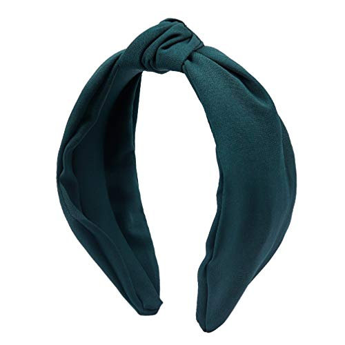 Head Amplifier Solid (Shang Jie Fashion Women Top Knot Turban Headband Solid Soft Yellow Black Hairband Simple Style Elastic Hairband Hair Accessories Hair Hoop Dark Green)