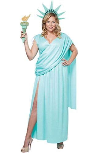 [8eighteen Lady Statue of Liberty Plus Size Costume] (Adult Lady Liberty Plus Size Costumes)