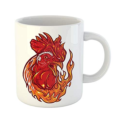 Emvency Coffee Tea Mug Gift 11 Ounces Funny Ceramic Red Abstract Angry Rooster Flames Animal Bird Gifts For Family Friends Coworkers Boss Mug -