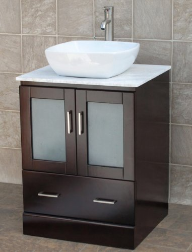 24 Bathroom Vanity Solid Wood Cabinet White Tech Stone Top Vessel