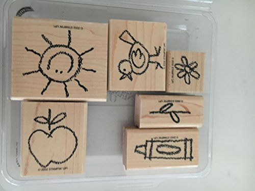 Stampin' Up! Crayon Cuties Rubber Stamps School, Apple, Bird, -