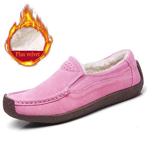 Rose Confort De Laine Loafers En Chaussures Femmes Z Casuel suo Suède Conduite Doublure Mocassins wOF6Xv