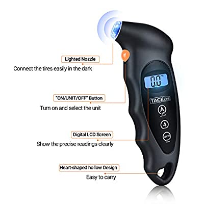 TACKLIFE Digital Tire Pressure Gauge, Backlit Display & LED Nozzle Tire Gauge, Accurate Detection,150 PSI with 4 Settings: Automotive