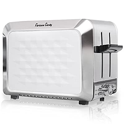 Fortune Candy KST011 Stainless Steel 2 Slices Toaster with Diamond Pattern