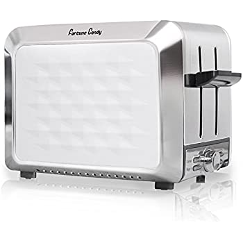 Fortune Candy KST011 Stainless Steel 2 Slices Toaster with Diamond Pattern (Elegant White)