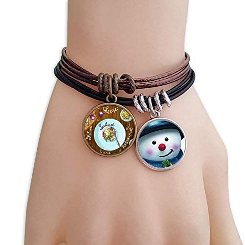 DIYthinker Salad Cheese Figs France Restaurant Snowman Leather Rope Bracelet Handmade