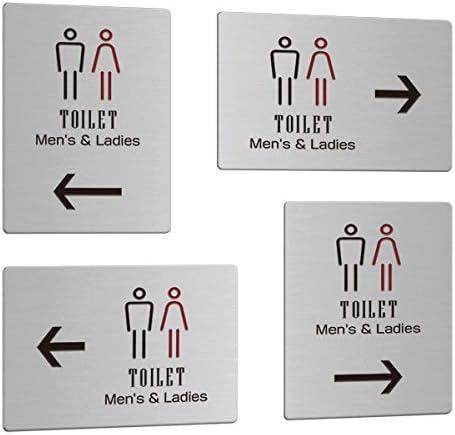 アロープレート 矢印付きの案内プレート 縦横4種からお選びください ステンレス製 男女トイレ 送料無料 000円以上 5 アウトレット